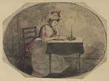 Woman reading by candlelight (recto)