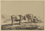 Two cows and a seated man with a dog in a meadow landscape