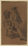 Young man seated, in contemporary dress