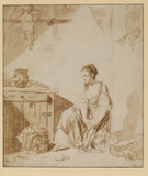 Young lady mourning a pet bird killed by a cat (recto)