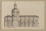 Central section through the elevation of the nave of San Salvatore in Lauro, Rome