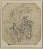 Young man and a young lady in a landscape