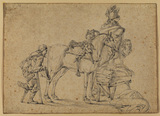 Crippled beggar before a horseman