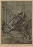 Warrior on horseback riding through a town