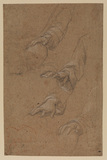 Studies of a man's right arm and hand (recto)