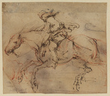 Thumbnail sketches of horse and rider in various positions