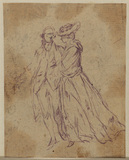 Study of a man and a women walking together (recto)