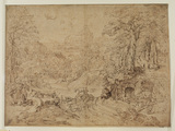 Imaginary landscape with goats and goatherd