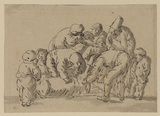 Group of figures watching a sheep being sheared