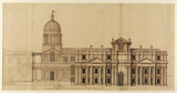 Design for Greenwich Hospital - Half of the North Elevation, after 1711