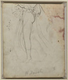 Lower part of female figure (top part cut away) (verso)