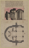 Plan and section of the grotto at the Villa del Pigneto Sacchetti at Castelfusano, near Ostia