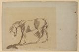 Study of a horse with head lowered, tail and mane blowing to left