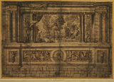 Design for wall or stairway decoration - Pan and Syrinx