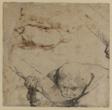 Man holding a shaft of the cross (verso)