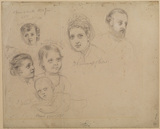 Group of heads - Prince and Princess of Wales and their children