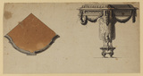 Plan and elevation of a corner table