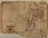 Four women in classical drapery and other sketches (verso)