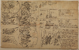 Sheet of composition sketches and notes (recto)