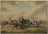 Horses on a race course - the start at Epsom (?)