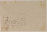 Sketch of interior with seated woman (verso