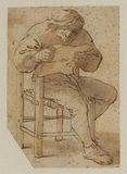 Peasant seated, reading