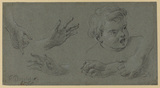 Studies of hands and the head of a child (recto)