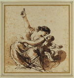 Young mother, seated and pointing, with child