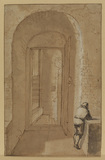 Door open to a spiral staircase, with a figure