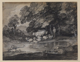 Wooded landscape with herdsman, cows and sheep