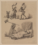 Two scenes of a quarrel between husband and wife