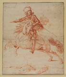 Rider in armour with baton