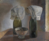 Still life with bottles and Breton bonnets