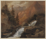 Mountain landscape with waterfall