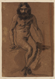 Nude bearded man, seated (verso)