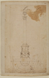 Front elevation and half the ground plan of a column for the Villa Pamphili