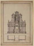 Design for an equestrian monument in an architectural setting