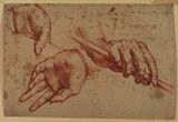 Three studies of hands (recto)