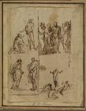 Sheet of studies - a. Noli me tangere (?); b. Noli me tangere (?) & c. Doubting Thomas; d. Transfiguration