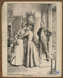 Illustration to 'The Entrance of Tobias - two women embracing with a man looking on