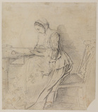 Young lady writing at a table (recto)