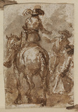Horseman and two figures