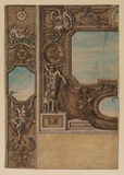 Design for a wall decoration with the monogram of Louis XIV (possibly for the château de Vincennes?)