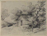 Wooded landscape with cottage among trees