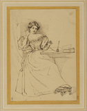 Lady seated at a table (Harriet Martineau ?)