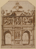Design for a triumphal arch for the entry of Charles V into Genoa (recto)