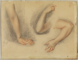 Three studies of the arms of a woman