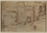 Study of the gate to a city (verso)