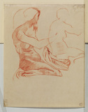 Two studies of a nude female figure, seated on her heels (verso)