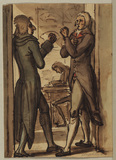Two men boxing (recto)